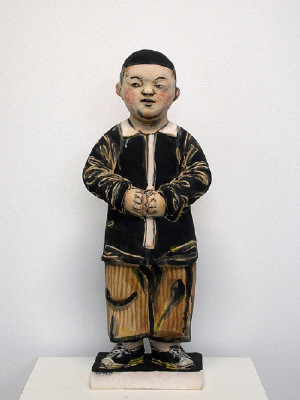Artist: Akio Takamori, Title: Boy with Clasped Hands (view 1), 2007 - click for larger image