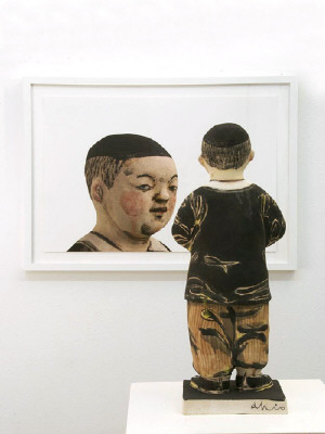 Artist: Akio Takamori, Title: Boy with Clasped Hands (view 2), 2007 - click for larger image