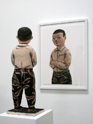Artist: Akio Takamori, Title: Boy with Crossed Arms (view 2), 2007 - click for larger image