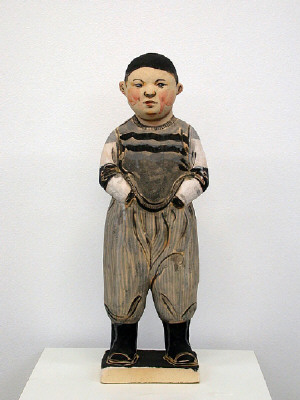Artist: Akio Takamori, Title: Boy with Hands in Pockets (view 1), 2007 - click for larger image