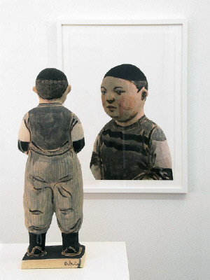 Artist: Akio Takamori, Title: Boy with Hands in Pockets (view 2), 2007 - click for larger image