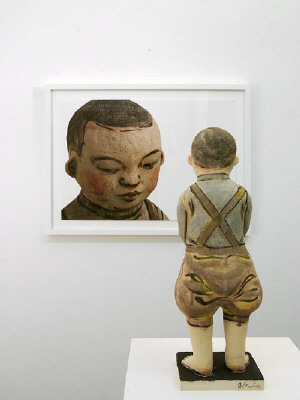 Artist: Akio Takamori, Title: Child in Brown Pants (view 2), 2007 - click for larger image