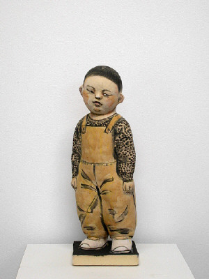 Artist: Akio Takamori, Title: Child in Ocher Pants (view 1), 2007 - click for larger image