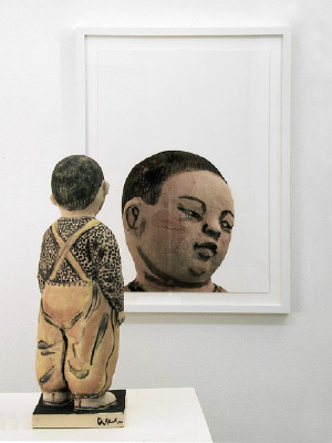 Artist: Akio Takamori, Title: Child in Ocher Pants (view 2), 2007 - click for larger image