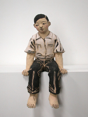 Artist: Akio Takamori, Title: Seated Boy in White Shirt, 2007 - click for larger image