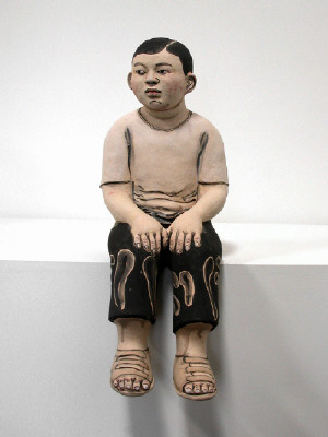 Artist: Akio Takamori, Title: Seated Boy wearing Sandals, 2007 - click for larger image