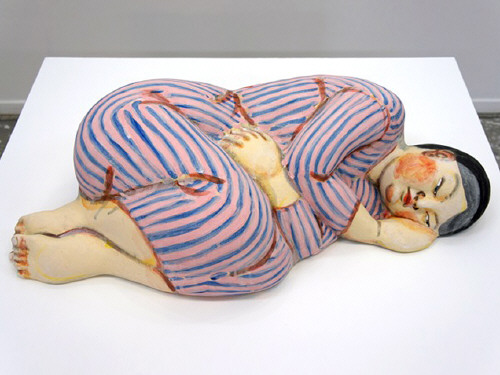 Artist: Akio Takamori, Title: Sleeper in Striped Dress, 2012 - click for larger image