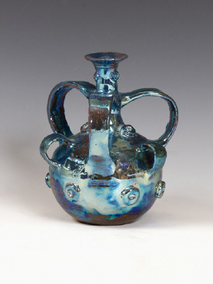 Artist: Beatrice Wood, Title: Blue Luster Bottle with 6 Handles, 1978 - click for larger image