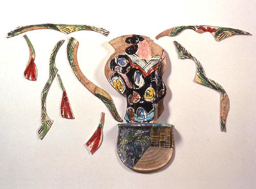 Artist: Betty Woodman, Title: Balustrade Relief Vase #02-4, 2002 - click for larger image