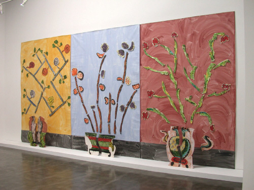 Artist: Betty Woodman, Title: Ceramic Pictures of Korean Paintings, Installation View, Frank Lloyd Gallery, September 2003 - click for larger image