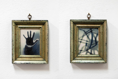 Artist: Cindy Kolodziejski, Title: Hand Shadow and Crab Shadow, 2011 - click for larger image