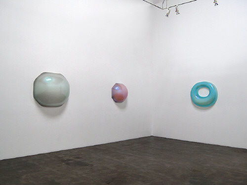 Artist: Craig Kauffman, Title: Installation View (left to right): Atis, 2007; Mangosteen, 2008; Untitled (Donut), 2001 - click for larger image