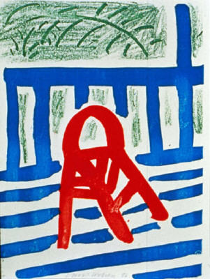 Artist: David Hockney, Title: The Red Chair, April 1986 X-81 ed. 34/44, 1986  - click for larger image