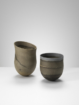 Artist: Jennifer Lee, Title: From left to right: (1)Sand-grained, haloed olive traces, tilted, (2)Dark, haloed traces, blue rim (Sold) - click for larger image