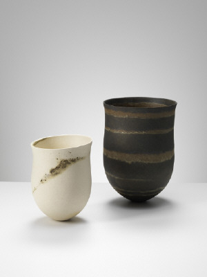 Artist: Jennifer Lee, Title: From left to right: (1)Pale, flashing speckled trace, tilted (sold), (2)Dark olive, umber rings - click for larger image
