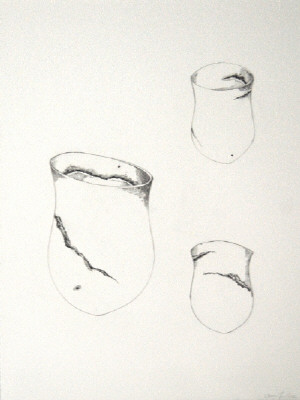 Artist: Jennifer Lee, Title: Jennifer Lee Drawing of sand-grained, haloed olive trace, tilted, 2012 - click for larger image