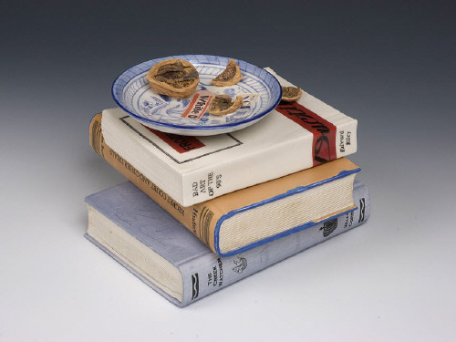 Artist: Richard Shaw, Title: Book-Jar with Paperback and Walnuts, 2009 - click for larger image
