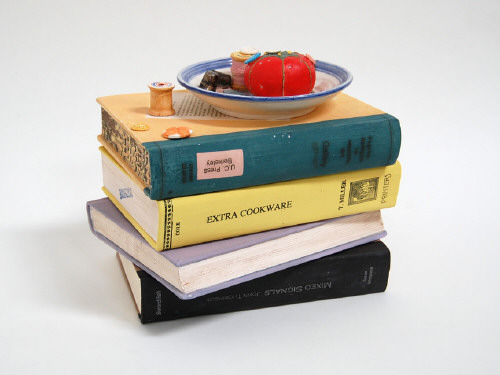 Artist: Richard Shaw, Title: Pin Cushion Jar with Four Books, 2009 - click for larger image