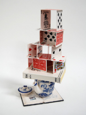 Artist: Richard Shaw, Title: Red House of Cards with Teddy's Poem, 2009 - click for larger image