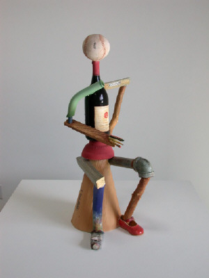 Artist: Richard Shaw, Title: Seated Figure with Wine Bottle, 2003 - click for larger image