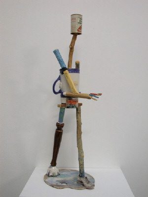 Artist: Richard Shaw, Title: Walking Figure with Upside Down Pitcher, 2003 - click for larger image