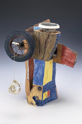 Artist: Robert Hudson, Title: Untitled Sculpture with Wheel, 2002  - click for larger image