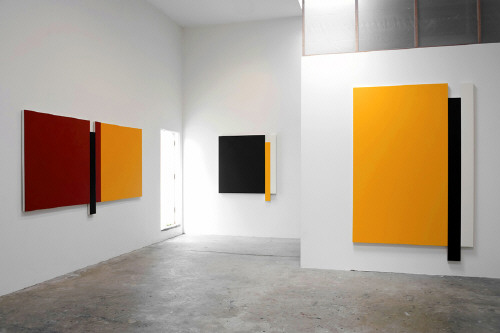 Artist: Scot Heywood, Title: Installation View left to right: Untitled Red, Blue, Yellow; Untitled Green, Yellow, White; Untitled Yellow, Umber, White, 2009 - click for larger image