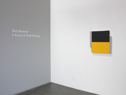 Artist: Scot Heywood, Title: Installation view of Scot Heywood: A Survey of Small Paintings. Poles Black, Yellow, Gray, 2012. - click for larger image