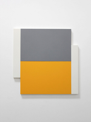 Artist: Scot Heywood, Title: Poles White, Gray, Yellow, 2012 - click for larger image