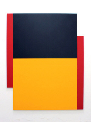 Artist: Scot Heywood, Title: Two Poles Red, Yellow, Blue, 2011 - click for larger image