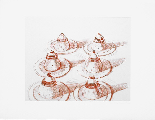Artist: Wayne Thiebaud, Title: Six Desserts, from Recent Etchings II, 1973 - click for larger image